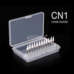 12Pcs Dental Cone Mounted White Stone Polishing Burs FG CN1 Abrasion Points Bur