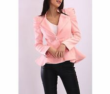 Womens Puff Shoulder Blazer Ladies Kardashian Jacket Tailored Coat Frill