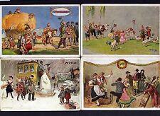 115458 4 AK Cannstadter Volksfest um 1925 Vier Jahreszeiten Künstlerkarte H. Hau