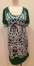 Vivienne Tam Green & Navy Silk Knit Short Sleeve Draped Dress Size Medium (M)