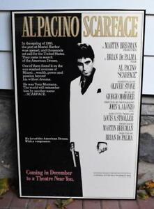 "SCARFACE ORIGINAL MOVIE POSTER DECEMBER ADVANCE 1983 40"" x 26"" framed glassed"
