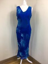 Monsoon blue turquoise long sheath bias cut devore Velvet silk dress UK 14 (BG)