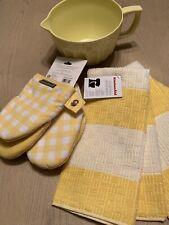 Yellow  KitchenAid Kitchen Dish Towel 2 Pack  & Batter Bowl & Oven Mittens Set