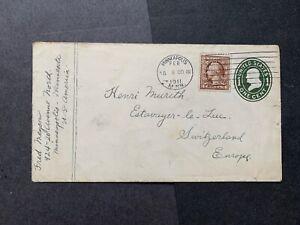1900 #377 PERFIN ! MINNEAPOLIS MN MACHINE CANCEL > SWITZERLAND ! 4c WASH +1c PSE