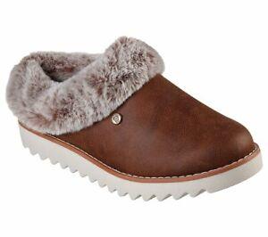 Womens Skechers Slippers Bobs Faux Fur Warm Comfy Slip On Memory Foam Shoes