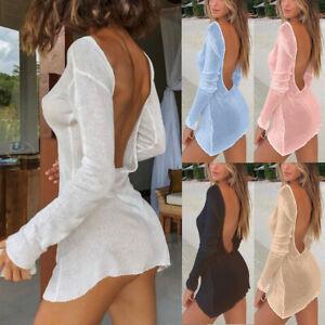 Womens Sexy Backless Bodycon Mini Dress Ladies Long Sleeve Beach Sundress Tops