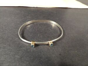 Ed Levin Sterling Silver & 14K Adjustable Blue Topaz Bracelet