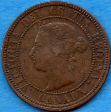 Canada 1882 H 1 Cent One Large Cent Coin - F/VF