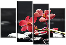 """LARGE RED ORCHIDS BLACK STONES SPA CANVAS PICTURE WALL ART MULTI SPLIT PANEL 40"""""""