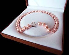 schön AAA 12mm runde rosa farbe Schale Perle Halskette 18 zoll