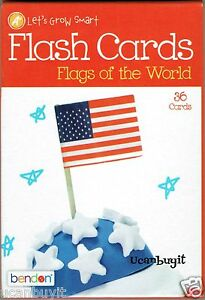 36 FLAGS OF THE WORLD Educational Flash Cards By Bendon Grade K+ Ages 5+