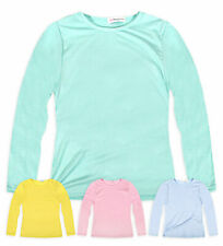 Girls Long Sleeved Plain Pastel T-Shirt New Kids Stretch Tops Ages 2-13 Years