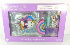 Yoobi School Supply Kit Purple Unicorn Binder Case Notebook Erasers Pen New