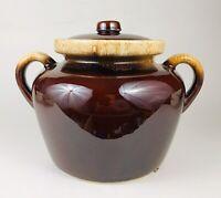 McCoy Pottery 342 Bean Pot Brown Drip Stoneware Ovenproof Vtg Double Handle Exc