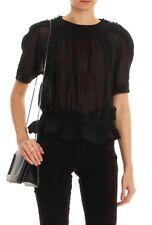 ISABEL MARANT Rayner Short Sleeve Top Blouse Black SIZE 38 - Small US 6