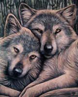 """LOYAL COMPANIONS WOLF  CANVAS ART PRINT BY LISA PARKER 10""""H  BY 7.5""""W  WP510LP"""