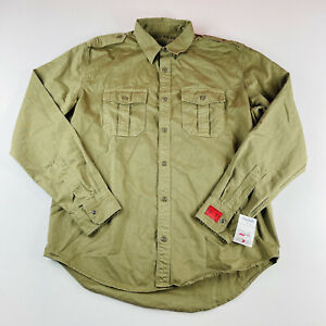 Replay Blue Jeans Button Down Shirt Army Green Service Mens Size Large