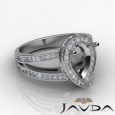 Diamond Engagement Halo Pave Set Ring Pear Semi Mount 18k White Gold White 0.7Ct