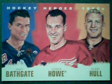 ANDY BATHGATE /GORDIE HOWE /BOBBY HULL   HOCKEY HEROES 1950s ART INSERT CARD  SP