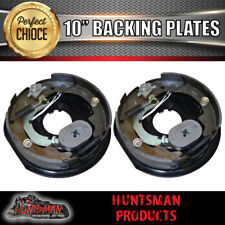 "x2 TRAILER 10"" ELECTRIC DRUM BRAKE BACKING PLATES. HANDBRAKE LEVER MAGNETS SHOES"