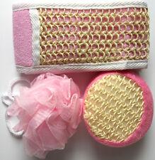 Bath Shower Set of 3, Body Puff Wash Sponge Scrub Scrubber & Loofa