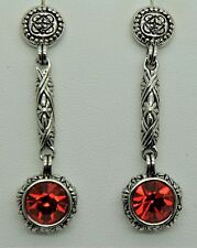 Designer Inspired Classic High Quality Post Dangle  Red Cz fashion earring m-3