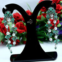 NATURAL WHITE PEARL, GREEN EMERALD & CZ EARRINGS 925 STERLING SILVER