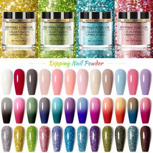 MEET ACROSS Glitter Dipping Nail Powder Dust Pigment Fast Dry NO UV Lamp DIY