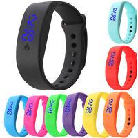NEW Womens Mens Rubber LED Watch Date Sports Bracelet Digital Wrist Watch