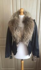 Luxury Real Sheep Leather Ladies Jacket With Real Fur Size Small UK Size 8-10