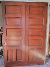 "1892 original antique wood double wide pocket door 89"" x 61"" Include door wheels"