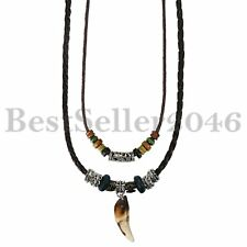 Wolf Charm Zahn Anhänger Tribal Perlen geflochten Leder-Seil-Kette einstellbar