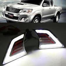 2x White LED DRL Daytime Fog Light Run lamp For Toyota Hilux Vigo Mk7 2011-2014