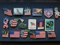 VINTAGE 18 METAL PINS AMERICAN US VETERANS VFW FLAGS STATUE OF LIBERTY