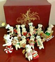 2011 SET OF (12) THE DANBURY MINT MBI PILLSBURY DOUGHBOY GLITTER  ORNAMENTS /BOX