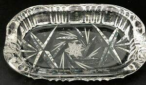 """True Vintage Lead Crystal Personal Ashtray Small ETCHED Star Buzz Heavy 3.5""""x2"""""""