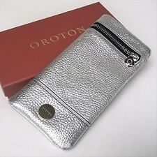 RRP$225 New OROTON Women Bueno Soft Fold Wallet Purse Metallic Leather Silver