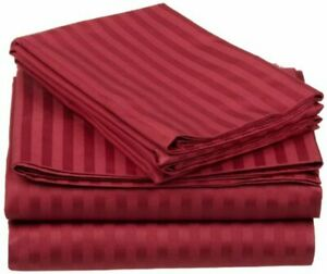 4 PCs Sheet Set Cotton 1000 TC Twin/Full/Queen/King/Cal-King Burgundy Striped