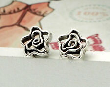Karen Hill Tribe Silver 1 pair Swirl  Flower Stud Earrings 8x9mm.