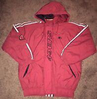 Vtg Starter Pro Line San Francisco 49Ers NFL Men Hooded Full Zip Jacket Sz Large