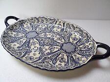 Mexican Talavera Pottery Ceramic Kitchen Oval Serving Bowl Platter Cobalt Blue