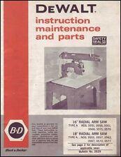Dewalt 16 & 18 Inch Type A Radial Arm Saw Manual