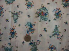 Vintage Manes Cotton Fabric FLOWER CARTS, GARDEN ITEMS, FLORAL ON WHITE 1/2 Yd