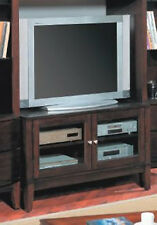 24''H CLASSIC DESIGN WOODEN TV STAND WITH GLASS DOOR CABINET-WALNUT FINISH-ASDI