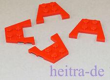 LEGO - 4 x Flügel, Flügelplatte, Wedge Plate 3x4 rot / 48183 NEUWARE (a11)