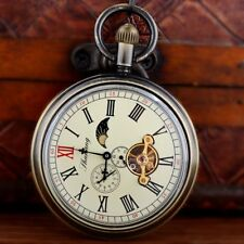 Steampunk Windup Tourbillion Moon Phase Mechanical Pocket Watch Chain Antique