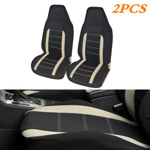Polyester High Back Bucket Car Front Seat Cover Breathable Beige 2Pcs w/Bag Hook