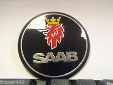SAAB NERO Cofano Badge 9-3 03-12 & 9-5 97-10 68mm/63mm GRATIS UK P & P