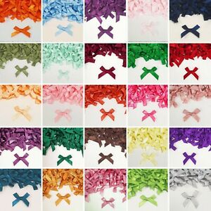 Small 3cm SATIN BOWS 43 COLOURS Mini Pre-Tied Ribbon Crafts Wedding Gift Card