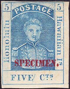 Hawaii - 1868 - 5 Cents Blue King Hamehameha III Specimen # 10S w Plate Crack OG